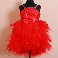Wholesale Red Flower Girl Dresses Tull Ball Gown Spaghetti Roses Bow Tutu Ankle Length Petals Lovely Girls Party Dress Child Size