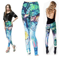 Mid alice knitting - Summer Women Fashion Digital Print Pants Sexy Alice Cat Black Milk Leggings top sale