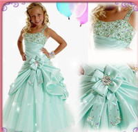 Wholesale Girl s pageant Dresses Ball Gown Full length Aqua Taffeta and Tulle Spaghetti Straps Crystals Stones Sparkling Ruffles Charming With Bo