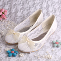 Men ballet ribbon flats - Free Drop Shipping Ivory Lace Ballet Flats Bridal Wedding Shoes Women With Ribbon Bowtie Big Size