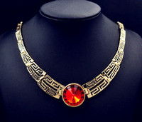 Wholesale New fashion jewelry gold plated crystal choker necklace gift for women ladies N1486