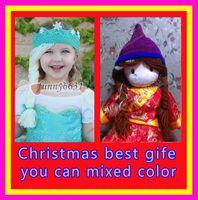 Wholesale christmas Crochet hats FROZEN ELSA ANNA princess imperial crown with snowflake Crochet hats Comfortable Soft hat cusp DHL