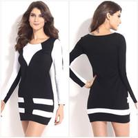 Wholesale Charming Party Dress Double Color Stripe Short Skirt Long Sleeves Design Ladies Ballroom Costume PL21120