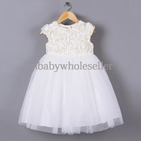 Cheap Wholesale Christmas Princess Girls Dresses White Roses Baby Wedding Dress For Toddle Clothes GD40918-4