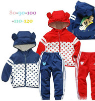 Cheap 5 sets lot New Spring Autumn boys girls Hoodies Zip jackets + pants sports suit coats trousers set children kids clothes clothing blue red