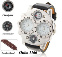 Cheap Wholesale Oulm Brand Multi Function japan movement fashion Men watch with Dual Movt Dial Genuine Leather