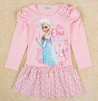 Cheap Baby girl frozen dresses 2014 korean fashion dress girl frozen princess short pink dress frozen tshirt dress children clothing