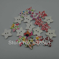 Cheap Colorful Stars Shape Wooden Buttons Handmade 300pcs 25*25mm White Printed Wood Sewing Button Scrapbooking Mixed Colors for DIY