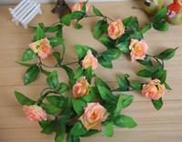 Wholesale artificial flower christmas wedding decorations flower vine artificial rose simulation roses silk flower Decorative Flowers Wreaths