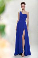 Wholesale Custom Made Cheap Blue Bridesmaid Dresses A line One Shoulder Sleeveless Split Front Ruffle Applique Beaded Chiffon Bridesmaid Dresses RX664