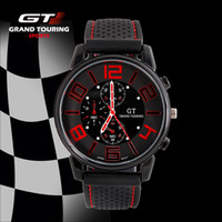 Wholesale Luxury Christmas Gift Men s Fashion Sport Racing Quartz Watches GT Silicone Vintage Analog Watch drop shipping