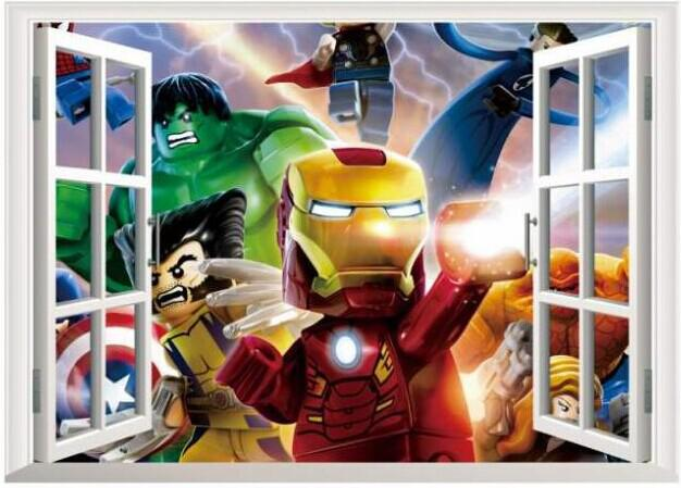 Lego 3d game movie character window sticker wall stickers for Decoration 3d games