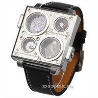 Wholesale Luxury Mens OULM Dual Time Zone Army Square Big Dial Thermometer Compass Leather Wrist Quartz Watch