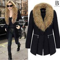 winter clothes women - 2014 Autumn winter new design fur collar woolen coat women clothing wool jacket coat women fur jackets