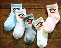 Wholesale solid color Toddler children boys boy girls girl baby infant kids kid cartoon monkey animal socks short stockings stocking JL