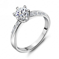 wedding ring classic design real platinum plated 6 prongs 05ct simulated diamond promise rings for women freeshipping cri0049 b - Real Diamond Wedding Rings