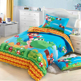 Boys Green Cartoon Super mario Cotton Children 4pcs Bedding Set Kid Bedding Free Shipping R068