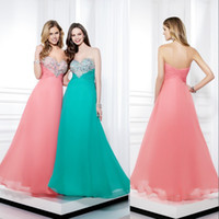 Cheap Top Selling ! Strapless A-line Beaded Crystal Zipper Prom Dresses 2014 Custom Made Evening Pageant Dress For Teen