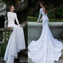 Wholesale 2015 Trending Sfani Mermaid Wedding Dresses Lace Applique Long Sleeve Sexy Open Back Monarch Train Bridal Gowns Custom Made