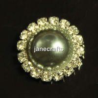 Cheap 50pcs 21mm Rhinestone Crystal Pearl Button Flatback Round Wedding Embellishment Hair Bow Alloy Button DIY Hair Accessory Gray