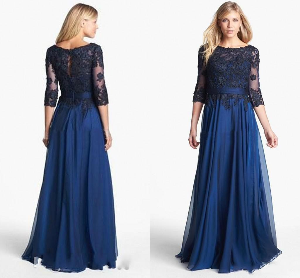 Navy Blue Chiffon Mother Of Bride Dresses For Wedding Sheer 3/4 ...