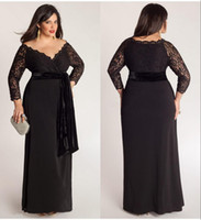 plus size evening dresses - Black Plus Size Lace Long Sleeve Sheath Chiffon Evening Dresses V Neck With Velvet Sash Floor Length Special Occasion Gowns Prom Dress