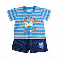 2014 kids summer giggle and hoot clothes suit 1- 5T boy carto...