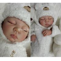 Cheap 22 inches Very soft Silicone vinyl reborn baby doll lifelike sleeping handmade newborn baby soft toys
