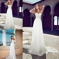 wedding dress ribbon - Summer Julie Vino Wedding Dresses Romantic Sweetheart Spaghetti Straps With Ribbons White Lace Wedding Dress A Line Court Floor Length