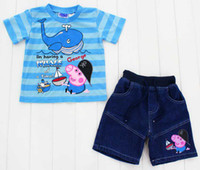 2014 kids new peppa pig clothes suit 1- 5T boy t- shirts + Pan...