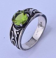Wholesale 925 sterling silver olive green gemstone fashion wind restoring ancient ways Contracted pattern personality The ancient silver ring