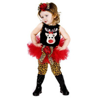 Wholesale Christmas Baby Clothing New Arrival Fawn Vest Leopard Grain Skirt Pants Headband Girl Set Fashion Embroidery Kids Suit WD245
