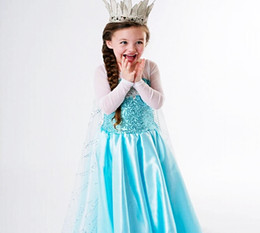 Wholesale 2014 Christmas Gift Frozen Princess Dresses Blue Elsa Dresses With White Lace Wape Girls New Fashion Frozen Dresses Ready Stock