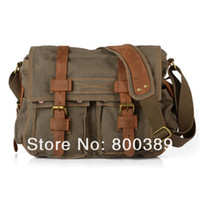 Wholesale 2 Exterior Pockets Messenger Bag Men s Vintage Canvas School Military Shoulder Bag Retro Style For Man Coffee