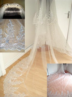 bridal veil lace edge - Real Sample Meters Long Bridal Veil Hot Sale Cheap Cathedral Wedding Veil Comb Lace Edged Crystal Bridal Accessories Best Selling