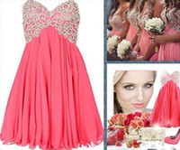 Cheap New Embroidered Beaded Junior Homecoming Dresses 2014 Trendy Short Coral Bridesmaid Dresses Pink A Line Sweetheart Mini Corset Prom Dresses