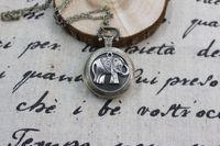 al por mayor de bolsillo antiguo reloj de plata-Collar de plata del reloj de bolsillo de los elefantes Colgante estilo antiguo de la vendimia de la amistad de la joyería del steampunk