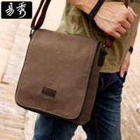 Wholesale Eshow Men Messenger Bags Men Shoulder Canvas Bag Men Vintage Small Cross body Bags Brown Khaki Black Fashion Men Bag Satchel