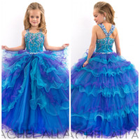 Cheap 2015 New Arrival Spaghetti Strap Beaded Appliques Little Girls Pageant Dresses Organza Ball Gown Flower Girls Dresses for Wedding GH029