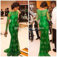 Wholesale 2014 Emerald Green lace Prom Dresses with High Neck and Long Sleeves Illusion Mermaid Celebrity Dresses Formal Evening Gowns