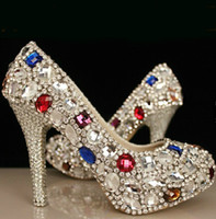 Cheap High Quality Shining Rhinestone Heels Crystal Wedding Shoes Evening Heels Prom Shoes
