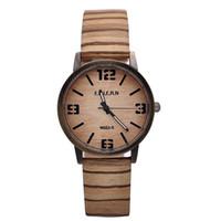 wood watch - TG676 Fashionable Women s Wooden Wood design Date watch men Quartz wrist Watches Women punk Zebra Bracelet large numbers