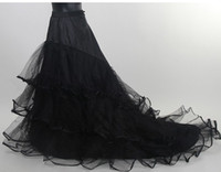 Wholesale In Stock Black Wedding Petticoat Cheap Tulle Long Bridal Crinoline For Dress With Chapel Train Or Court Train Charming Slip Bridal Petticoat