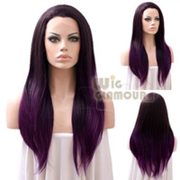 Wholesale Ombre Dark Brown Mixed Purple quot quot Synthetic Lace Front Wig Heat Resistant Wig Straight Color Style As the Picture Show Wig Glamour
