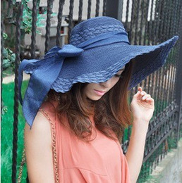 Wholesale Sun Cap China - 2015 china new hot! women Wide Large Floppy Brim Summer Beach Sun Straw Beach Derby Hat Cap girl Flexible china post air mail free shipment