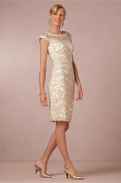 2017 New Knee length Mother of the Bride Dresses Sheath Crew High Quality Stain With Lace Cap Sleeve MBD-16