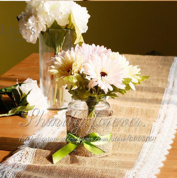 14 x 108 shabby chic burlap lace hessian natural jute for Deco de table shabby