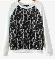 Wholesale Brand New Fashion Women s Lace grenadine splice round collar Long sleeve Sports leisure Hoodies
