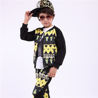 Cheap 2014 Autumn Children Boys 2 Pcs Camouflage Pant Outfits,Boys Long Sleeve Splicing Print Shirt+Pant,Boys Casual Outfits,5 Sets Lot B