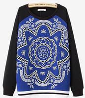 Wholesale Brand New Women s orientation FLOWER Blue black splice round collar Long sleeve Sports leisure Hoodies